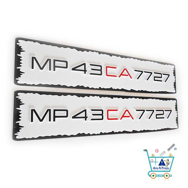 laser cut stylish number plate for car
